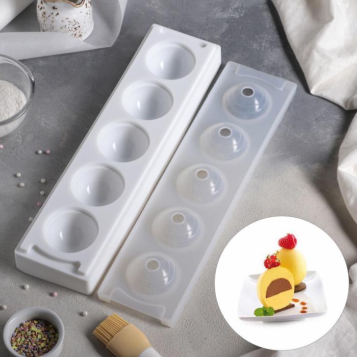 """Форма для муссовых десертов и выпечки 38,5×9,5 см """"Кроули"""", 5 ячеек, цвет белый"""