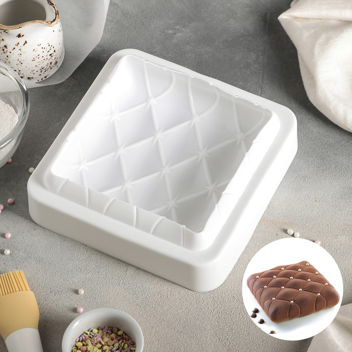 Форма для муссовых десертов и выпечки 19×19 см «Рельеф», внутренний размер 16,5×16,5 см, цвет белый