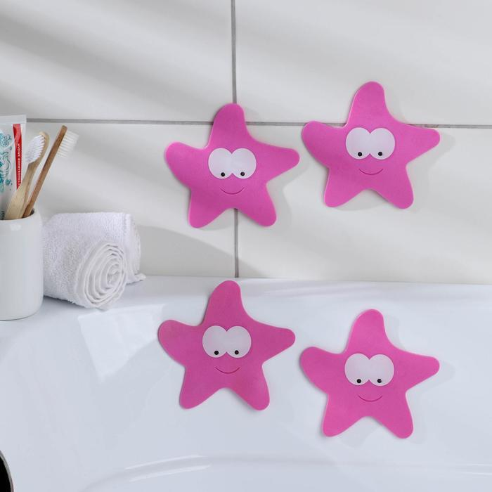 Набор мини-ковриков для ванны «Звёзда», 12×13 см, 4 шт, цвет МИКС - фото 105492422