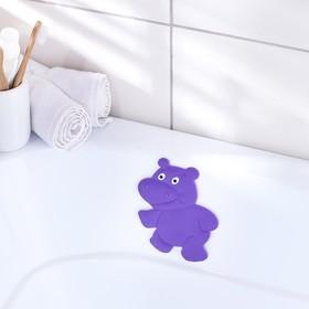 Мини-коврик для ванны Доляна «Бегемотик», 12×13 см, цвет фиолетовый