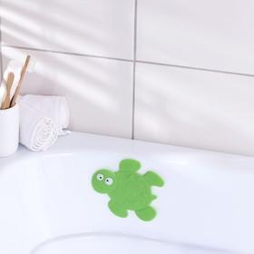 Мини-коврик для ванны Доляна «Черепашка», 11×13,5 см, цвет зелёный
