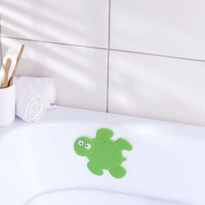 Мини-коврик для ванны «Черепашка», 11×13,5 см, цвет зелёный