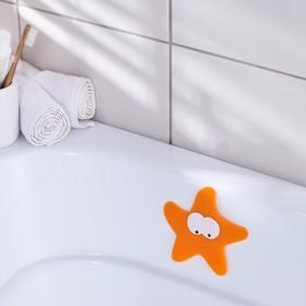 Мини-коврик для ванны Доляна «Морская звезда», 12×13 см, цвет оранжевый