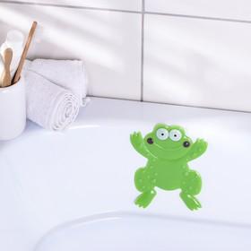 Мини-коврик для ванны Доляна «Лягушонок», 11,5×14 см, цвет зелёный
