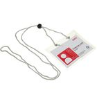 Бейдж-карман горизонтальный 105*70*0,28мм прозрачный на шнурке с фиксатором DELI