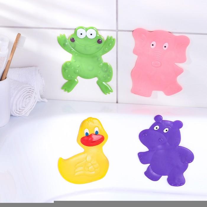"Набор мини-ковриков для ванны ""Зоопарк"", 4 шт"