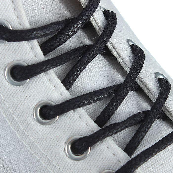 Шнурки для обуви Braus, круглые, с пропиткой, d=5 мм, 75 см, цвет чёрный