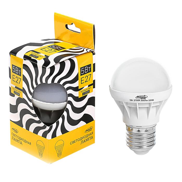 Лампа светодиодная Luazon Е27, 5 Вт, 350 Лм, 2700 К, 220 В, теплый