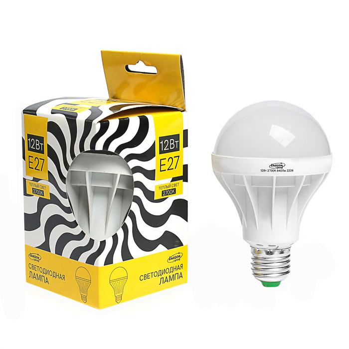 Лампа светодиодная Luazon Lighting, А80, 12 Вт, E27, 840 Лм, 2700 К, теплый белый