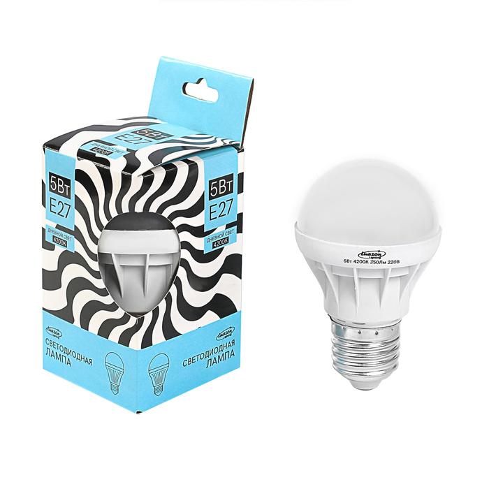 Лампа светодиодная Luazon Lighting, А65, 5 Вт, E27, 350 Лм, 4200 К, дневной белый
