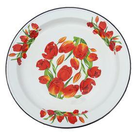 Блюдо Сибирские товары «Тюльпаны», декор на дне, 5 л, деколь МИКС