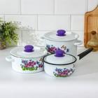 """Набор посуды """"Фиалки"""", 3 предмета: кастрюли 2 л, 3,5 л, ковш с крышкой 1,5 л"""