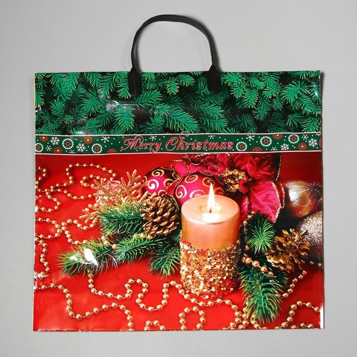 """Пакет """"Новогоднее убранство"""", полиэтиленовый с пластиковой ручкой, 38 х 35 см, 90 мкм"""