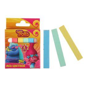 Мелки цветные, 6 штук, «Тролли»