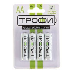"Батарейка алкалиновая ""Трофи"" Eco, AA, LR6-4BL, 1.5В, блистер, 4 шт."