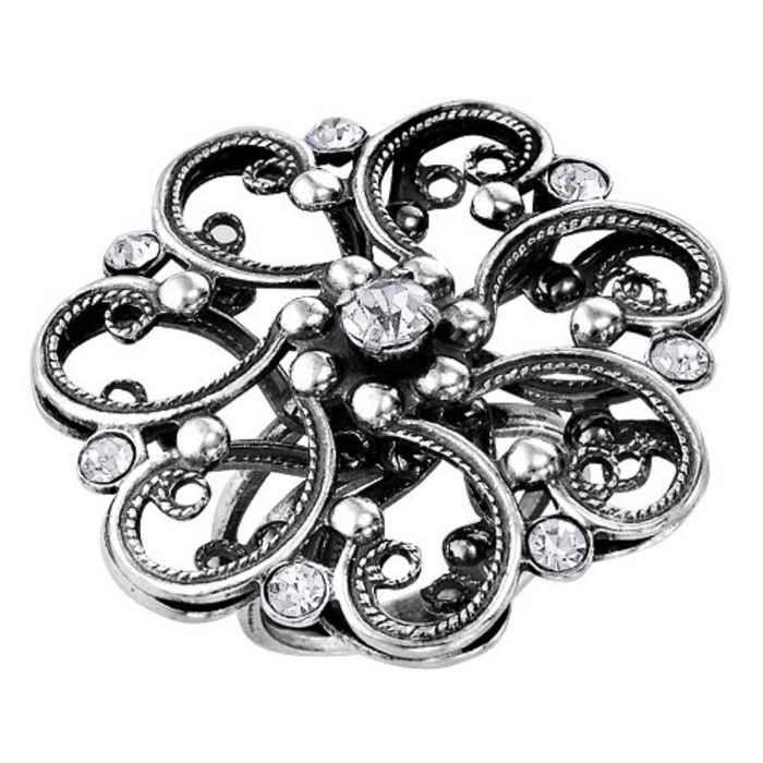 """Кольцо посеребрение с оксидированием """"Цветок"""" кружевной, 17,5 размер"""
