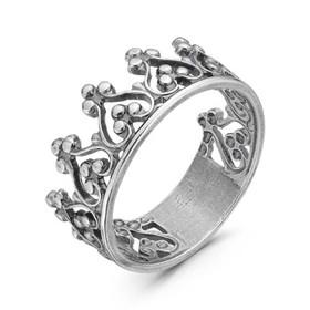 """Кольцо посеребрение с оксидированием """"Корона"""", 19 размер"""