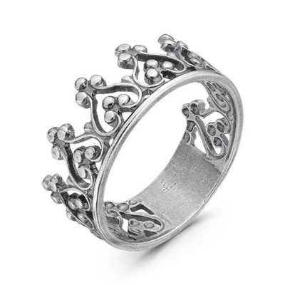 """Кольцо """"Корона"""", посеребрение с оксидированием, 19 размер"""