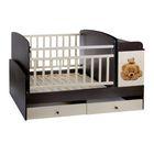 Детская кровать-трансформер «Мишки», с пеленальным столиком, цвет венге-ваниль