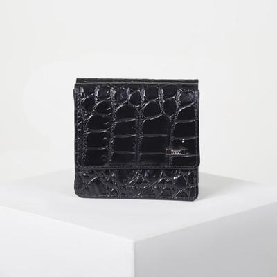 Кошелёк женский, 2 отдела, для карт, для мелочи, крокодил, цвет чёрный