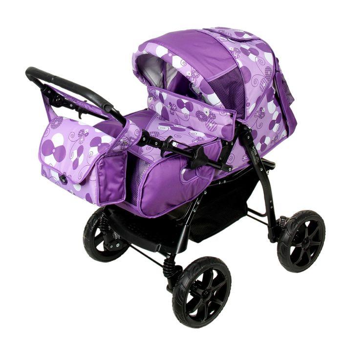 Коляска-трансформер «Гном», пластиковые колёса, оттенки фиолетового, рисунок МИКС