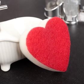 Губка для мытья посуды со скрабером 'Сердце' Ош
