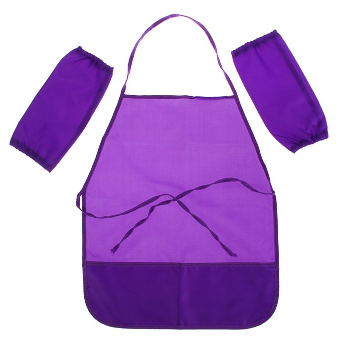 Фартук для труда + нарукавники, Стандарт (фартук: 485х395 мм, нарукавники 250х120 мм) фиолетовые