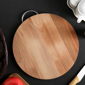 Cutting Board 30×26 cm, Round, small, with metal handle, beech