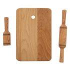 Набор кулинарный «Детский», 3 предмета: доска, скалка, толкушка, из бука, 24×15×1,8 см