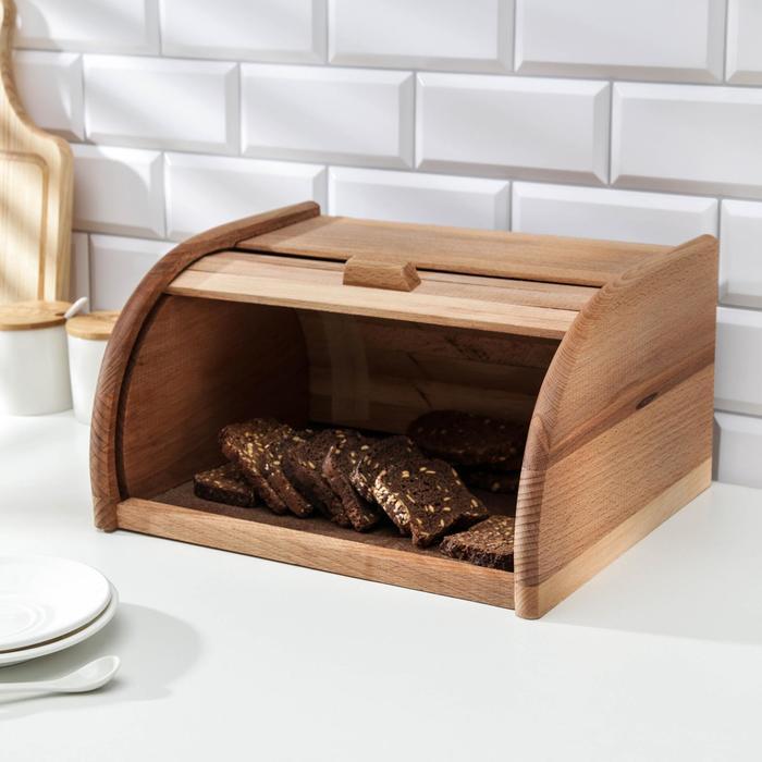 Хлебница деревянная «Хозяюшка», большая, бук, 34×28×19 см - фото 1676525