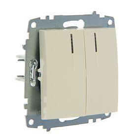 Выключатель ABB Cosmo, двухклавишный, с подсветкой, кремовый, 619-010300-203