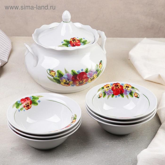 """Набор для пельменей """"Фиалка"""", 7 предметов: ваза 3 л, миски 17,5 см"""