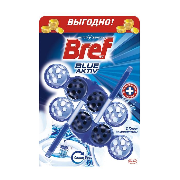 Средство для унитаза Bref, Blue Aktiv с хлором, 2x50 г