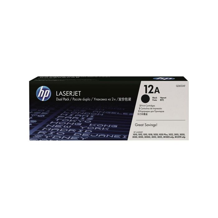 Тонер Картридж HP Q2612AF черный x2уп. для HP LJ 1010/1012/1015 (4000стр.)