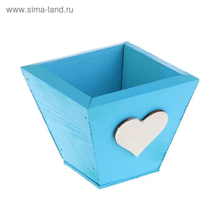 Кашпо флористическое синее, мини, 11 х 11 х 9,5 см