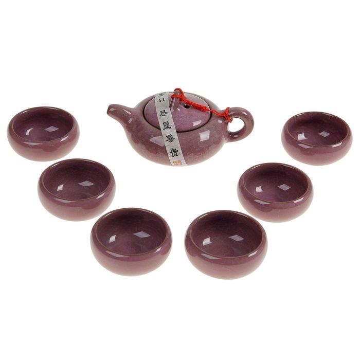 """Набор для чайной церемонии 7 предметов """"Лунный камень"""" сирень (чайник 150 мл, чашка 50 мл) УЦЕНКА 18"""