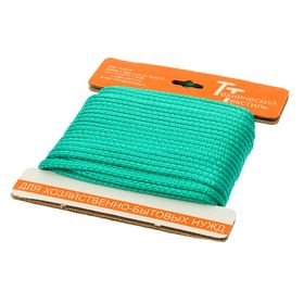 Шнур полипропиленовый, вязаный с сердечником d=5 мм (длина 20 м), цвет зеленый Ош