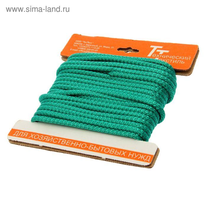 Шнур полипропиленовый, вязаный с сердечником d=7 мм (длина 10 м), цвет зеленый