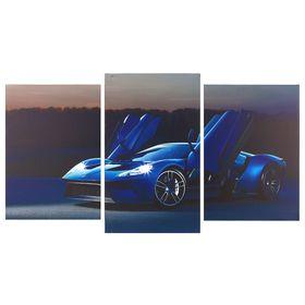"Картина модульная на подрамнике ""Синяя машина""  2шт-31х44; 1-31х52; 70*105 см"