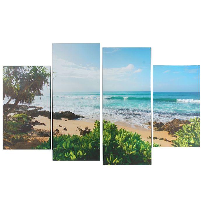 """Модульная картина на подрамнике """"Морской пляж"""", 2 шт. — 28×50 см, 2 шт. — 28×70 см, 85×125 см"""