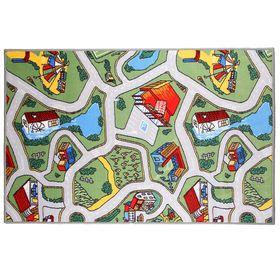Палас велюровый «Лунапарк», размер 100х150 см, цвет зелёный, полиамид