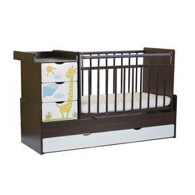 Детская кровать-трансформер «Жираф», с фотопечатью, цвет белый-венге