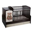 Детская кровать-трансформер «Мишка», цвет венге-бежевый