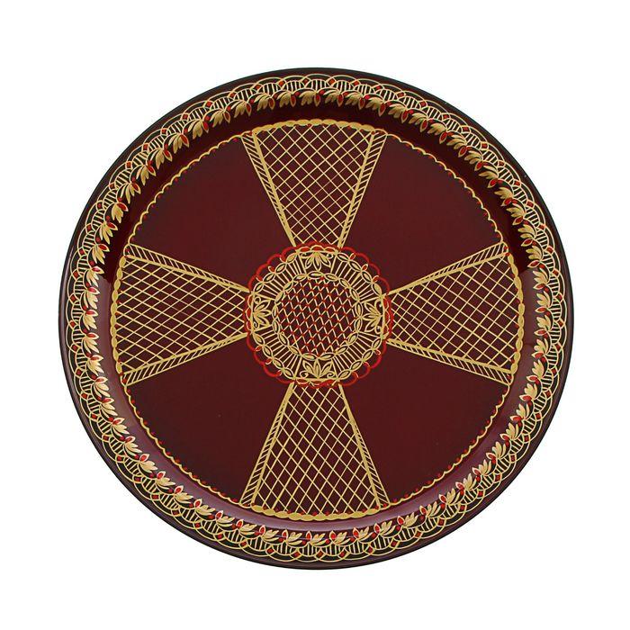 """поднос """"тагильский узор"""" крест"""" D=32 см, вишневый фон"""