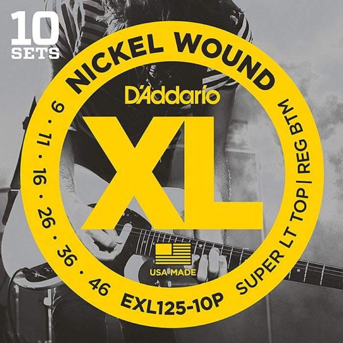 Струны для электрогитары D'Addariо EXL125-10P Nickel Wound  S Light Top/Regular Bottom 9-46, 10 комп