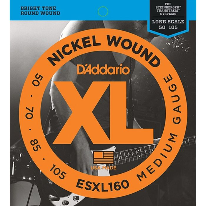 Комплект струн для бас-гитары D'Addario ESXL160 Nickel Wound, Medium, 50-105, шарик на 2 концах   17