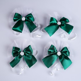 Bows on the handles of the wedding car, 4 PCs, emerald