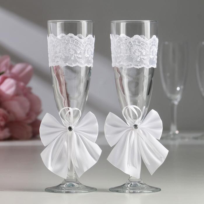 Набор свадебных бокалов для битья «Элит» с бантиком, 2 шт., белый