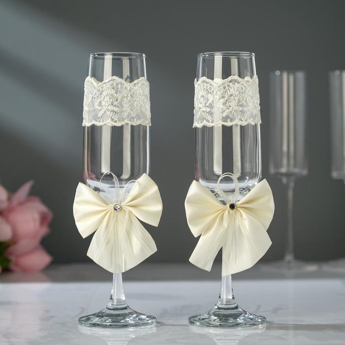 Набор свадебных бокалов для битья «Элит» с бантом, 2 шт., цвет айвори