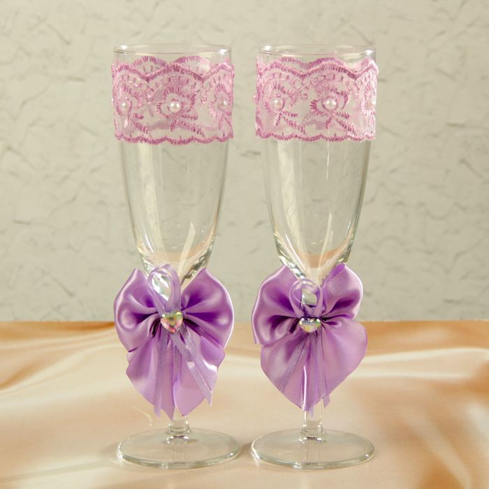 Набор свадебных бокалов для битья «Элит» с бантиком, 2 шт., сиреневый